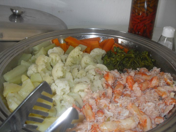 salada de lagosta com legumes