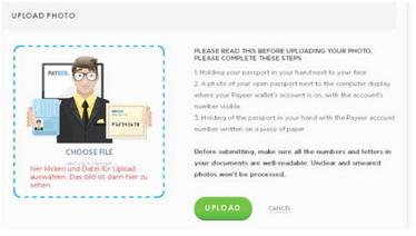 prepare seu ID, passaporte, anote o número da sua conta, segure-o com a mão esquerda e direita e deixe que outra pessoa tire a foto ou use a câmera no seu PC