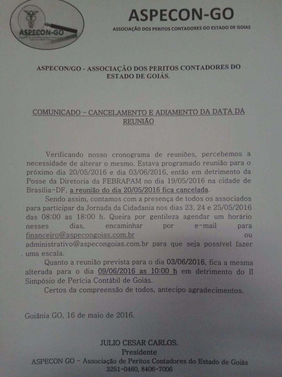 CONVOCAÇÃO ASPECON 20/05/2016