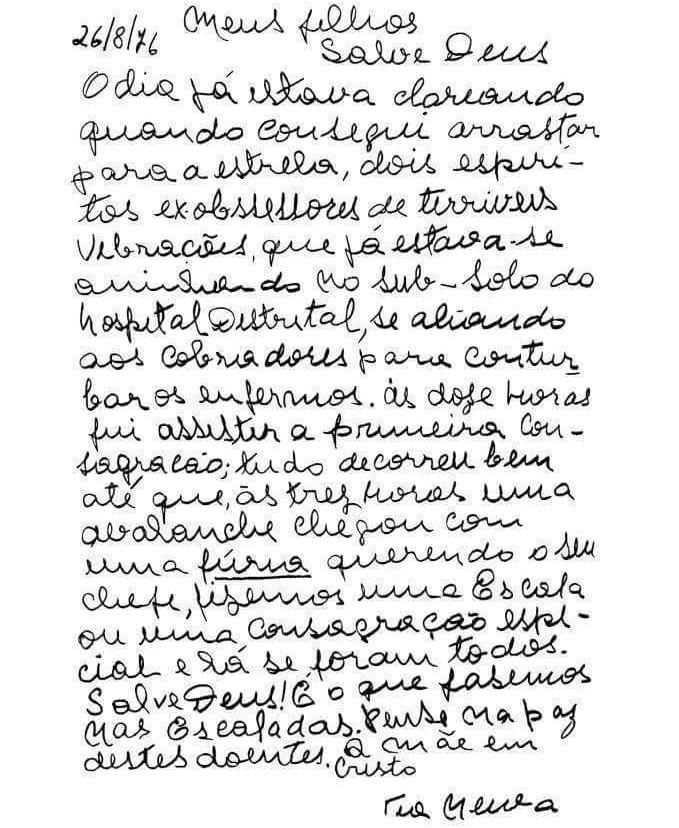 Salve Deus! Carta da Nossa Mãe Mentora; Agla Koatay 108! Tia Neiva. Salve Deus.