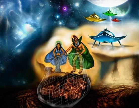 Salve Deus! Os Cavaleiros e Guias Missionárias com a sua Rede Maguinética e o seu Amor conduzem os Espíritos para a Estrela Candente! Salve Deus.