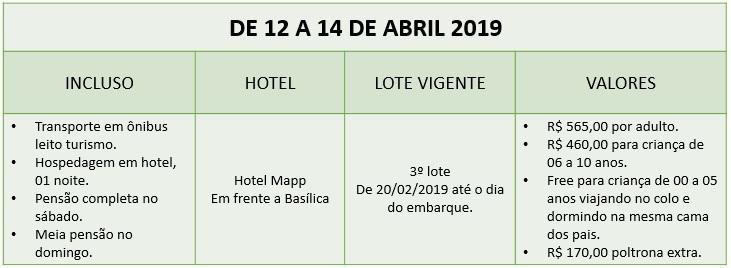 Excursão para Aparecida do Norte em abril 2019