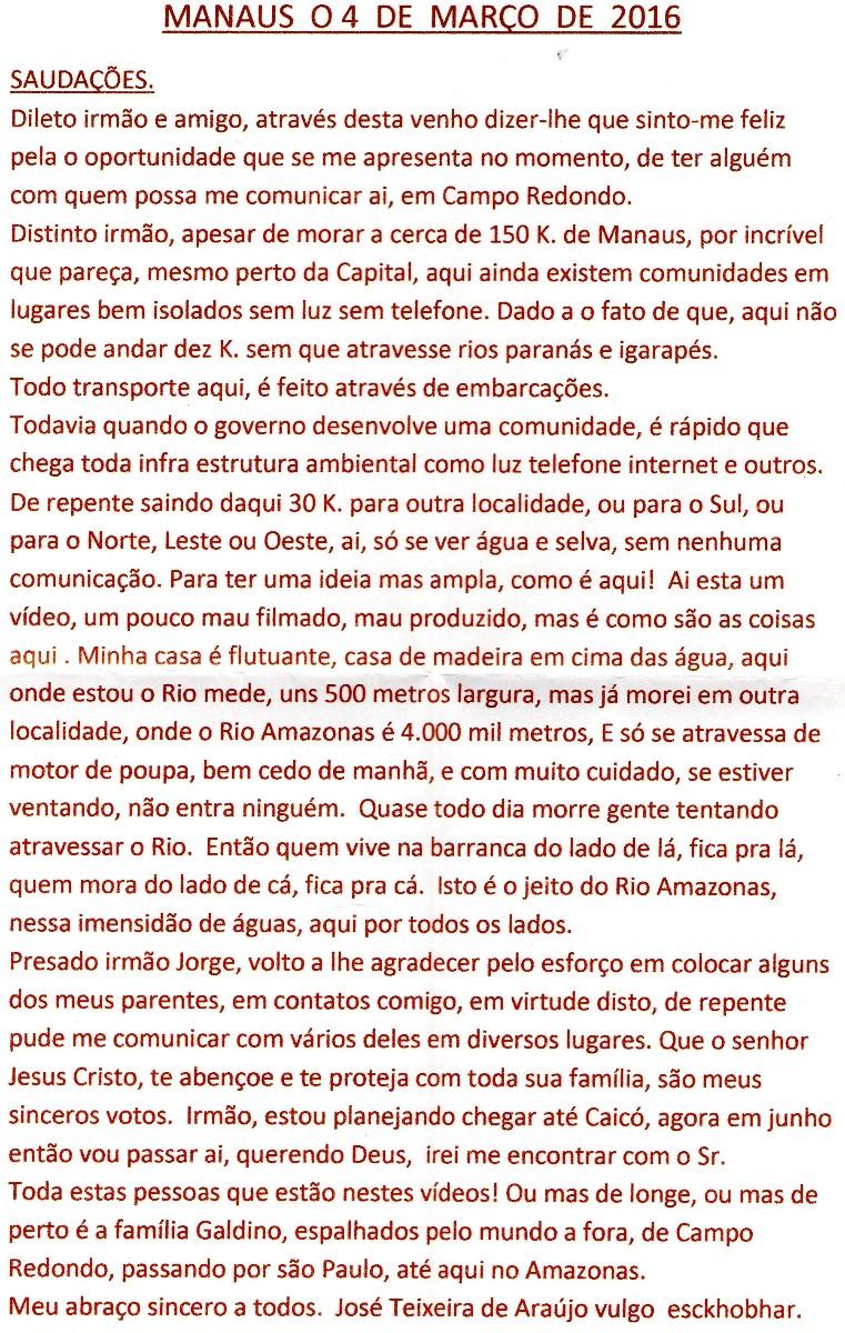 CARTA DE ZÉ TEIXEIRA