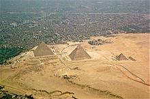 Vista aérea das pirâmides de Gizé