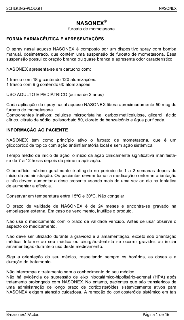 NASONEX ® furoato de mometasona