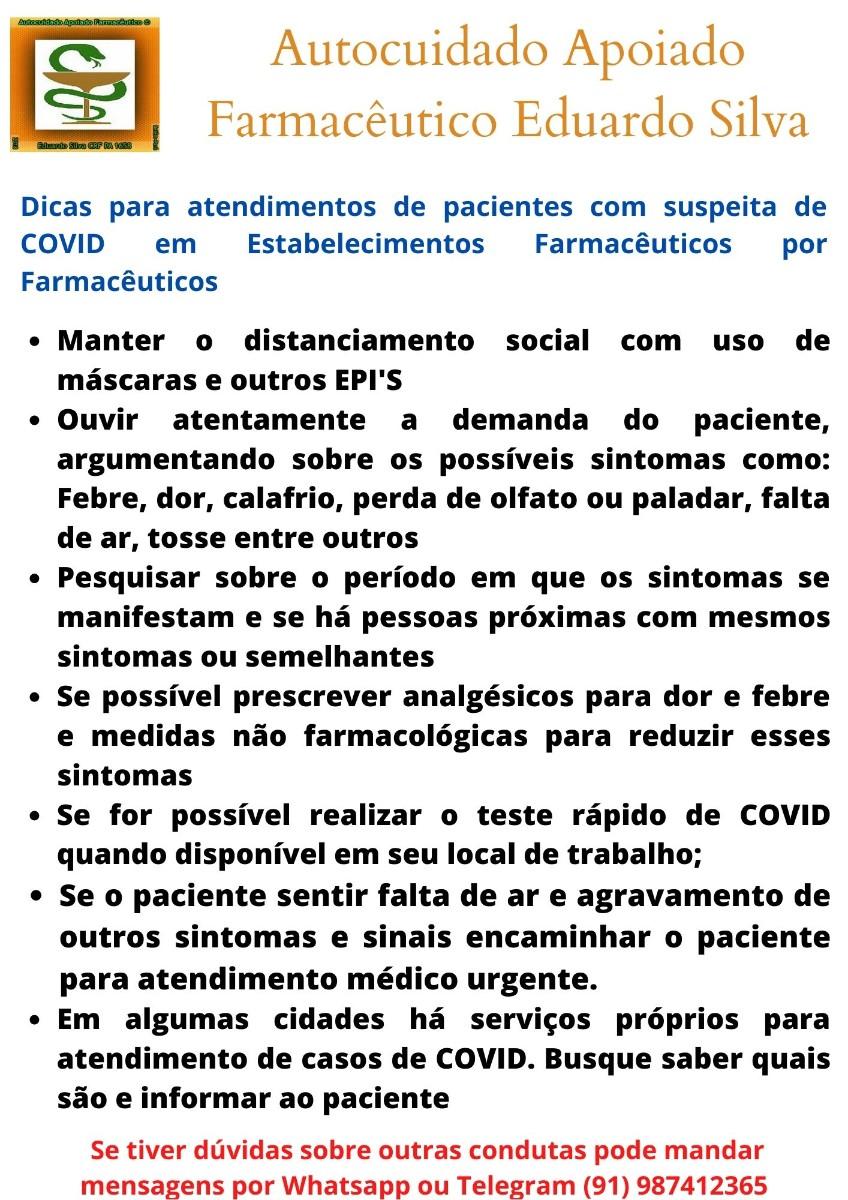 Dicas de orientações Farmacêuticas COVID