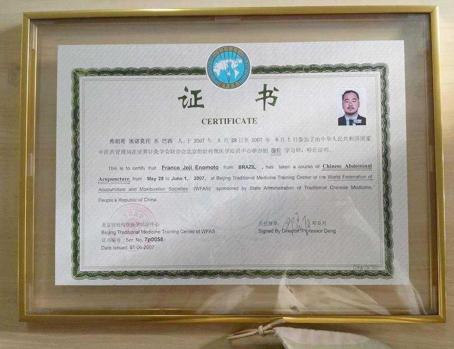 Certificado Internacional da Terapia Fuzhen