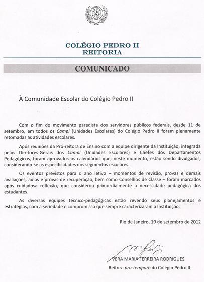 Mudança Calendário Escolar 2012 Colégio Pedro II
