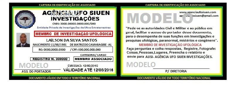 CARTEIRA AGENCIA UFO SIUEN INVESTIGAÇÕES