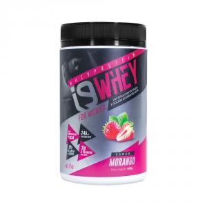 Suplemento Whey Protein para aumento de massa muscular. Sabor MORANGO
