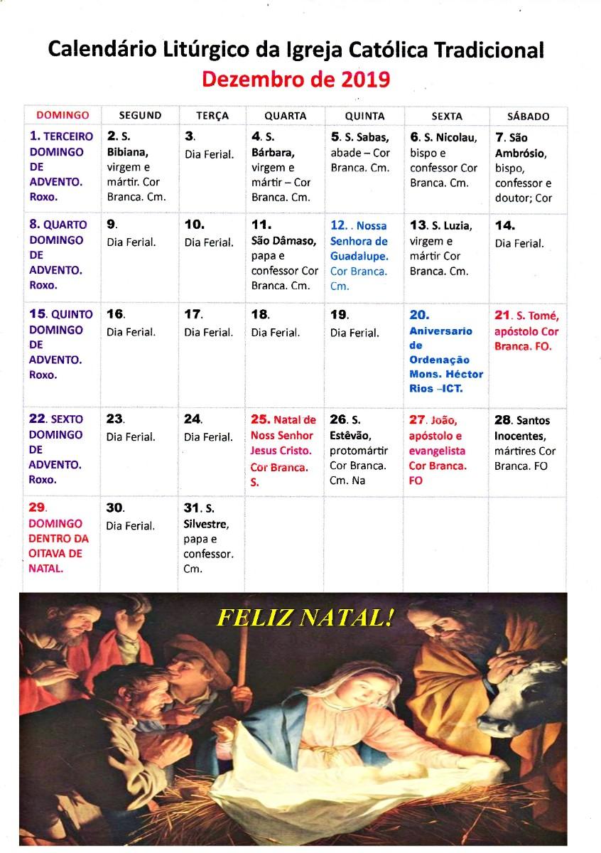 Calendario Liturgico DEZEMBRO 2019