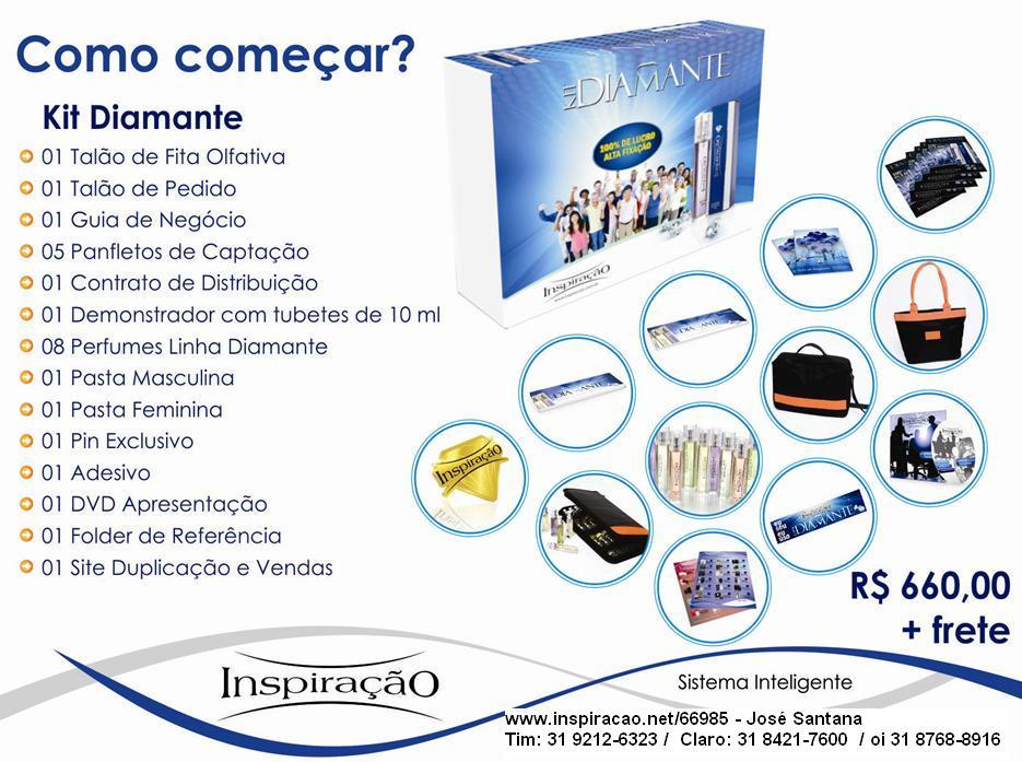 Kit Diamante com bolsas, 8 perfumes diamante importados, e todo o material de inicio imediato.