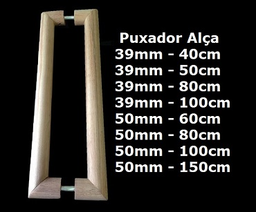puxador alça de madeira