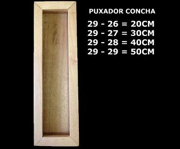 puxador concha de madeira