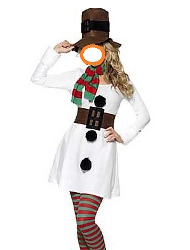 fato de boneca de neve