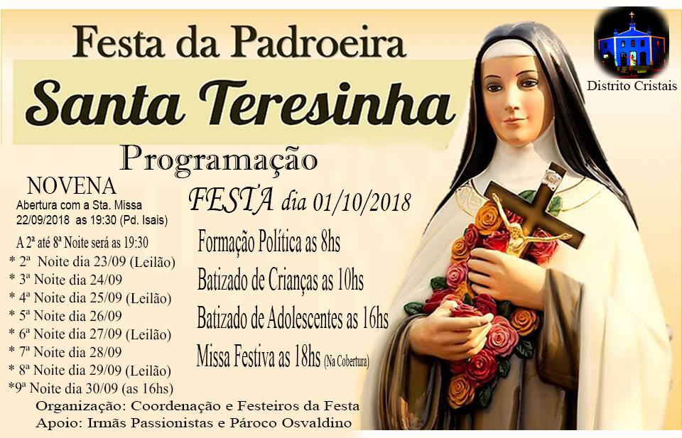 Cartaz da Festa de Santa Terezinha