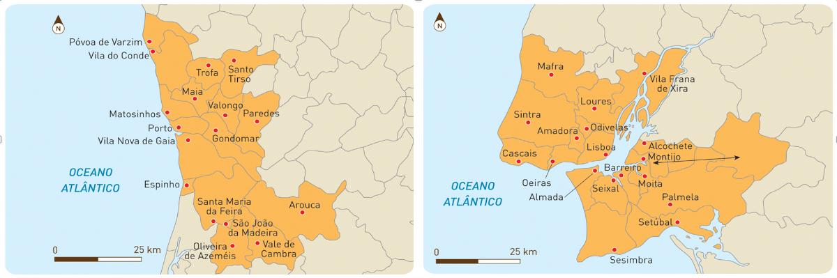 Área Metropolitana do Porto (AMP) e Área Metropolitana de Lisboa (AML).