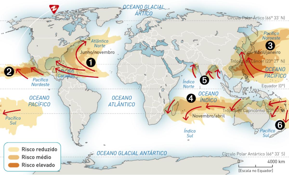 Áreas suscetíveis à ocorrência de ciclones tropicais.