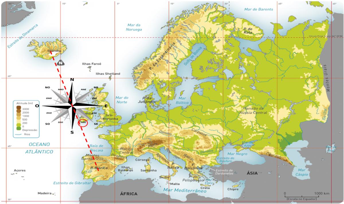 Localização relativa da Península Ibérica face à Islândia.