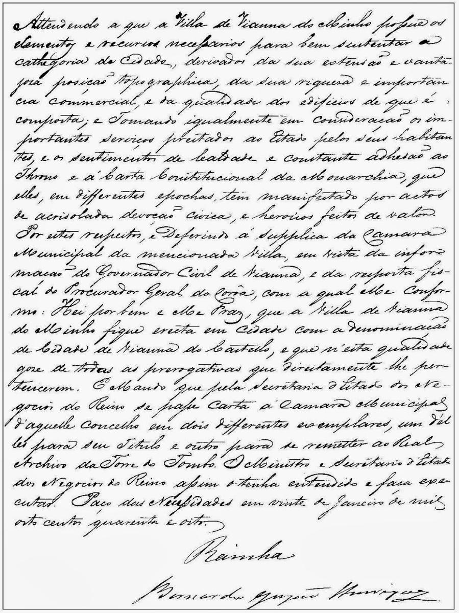 Carta de elevação de Viana do Minho (Viana do Castelo) à categoria de cidade outorgada pela Rainha D. Maria II em 20 de janeiro de 1848.