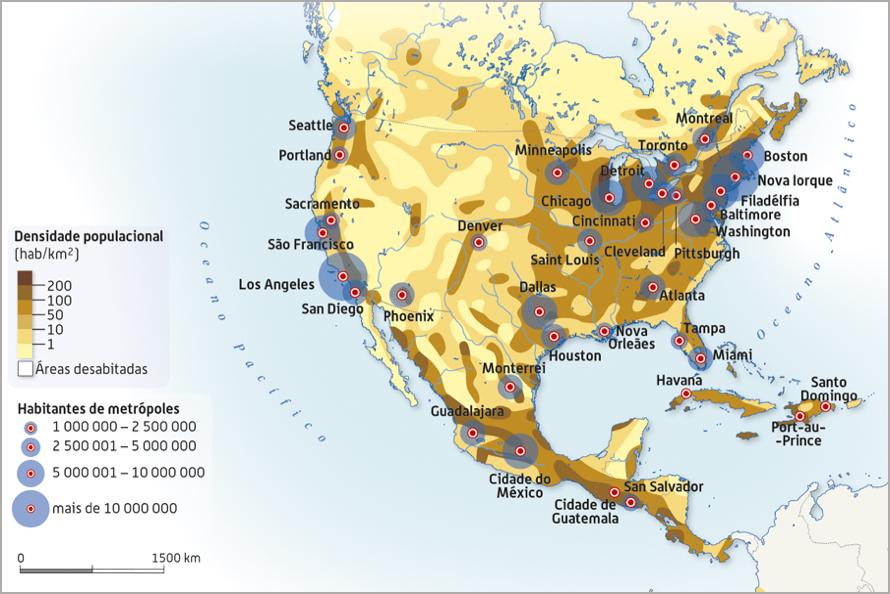 Densidade populacional na América do Norte.