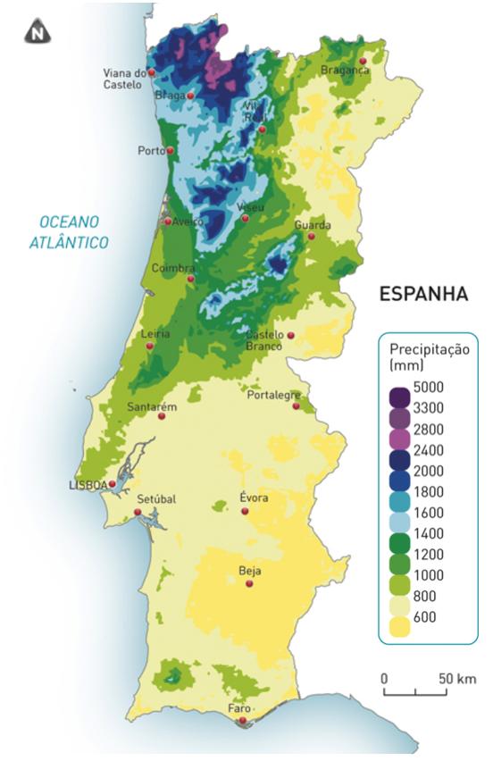 Distribuição da precipitação total anual (PTA) em Portugal continental.