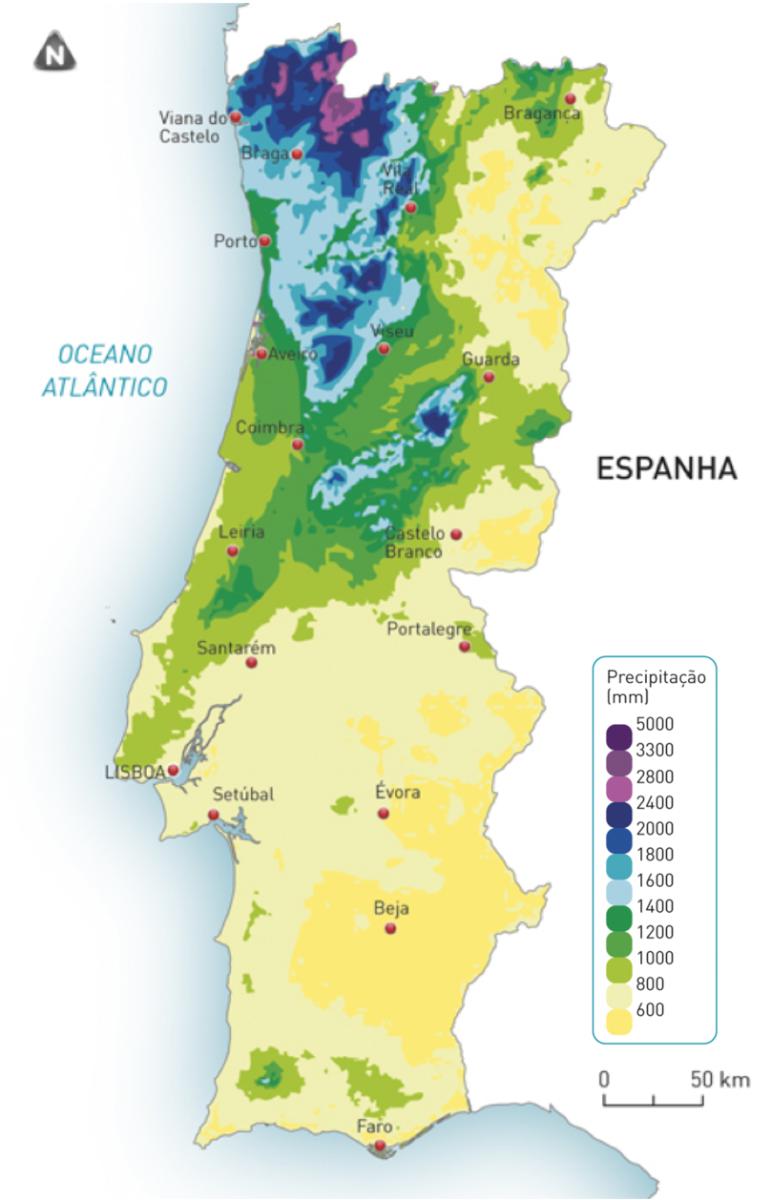 Distribuição da precipitação total anual em Portugal continental.