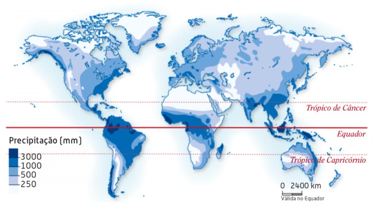 Distribuição geográfica da precipitação na superfície terrestre.
