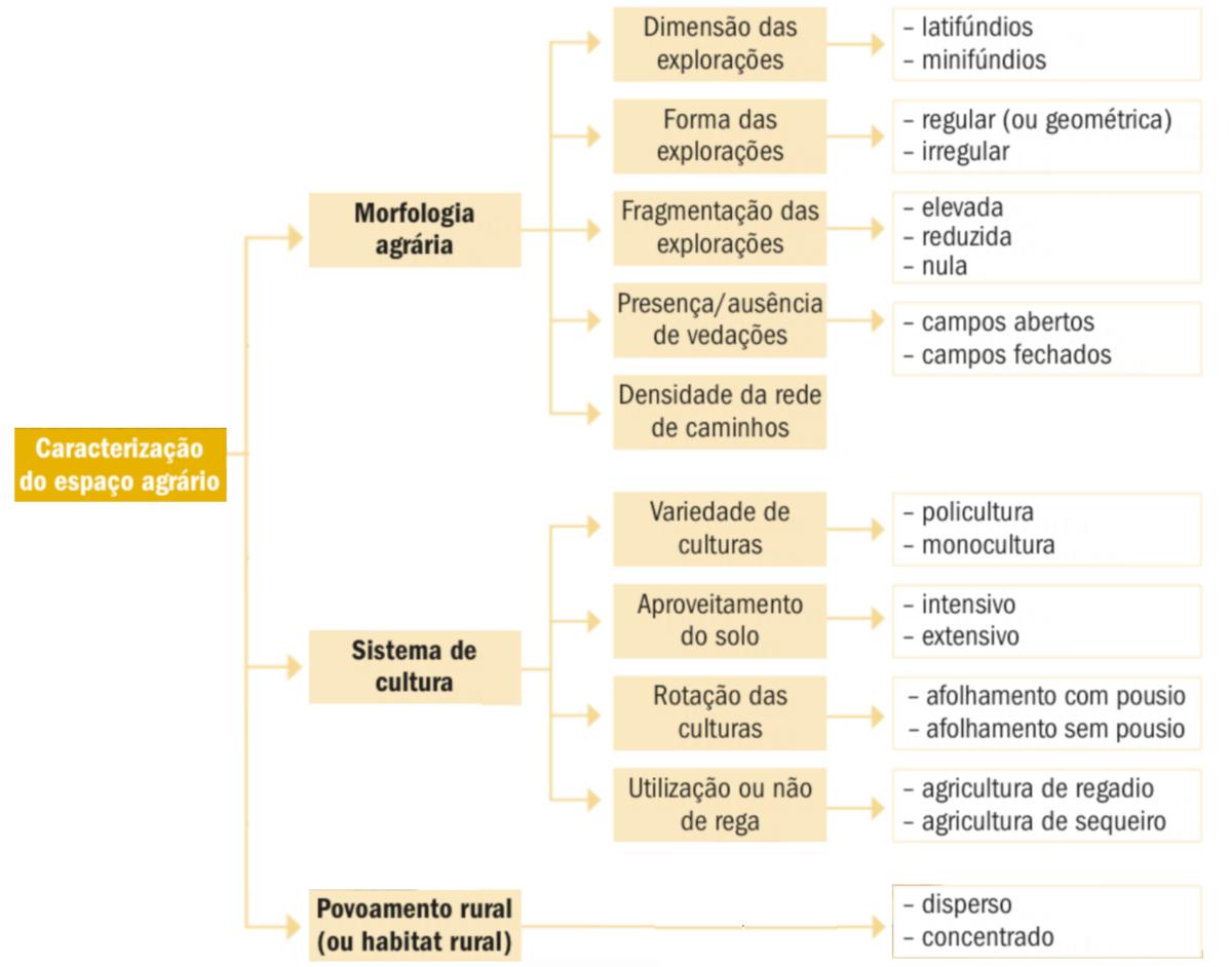 Principais elementos utilizados na caraterização do espaço agrário.