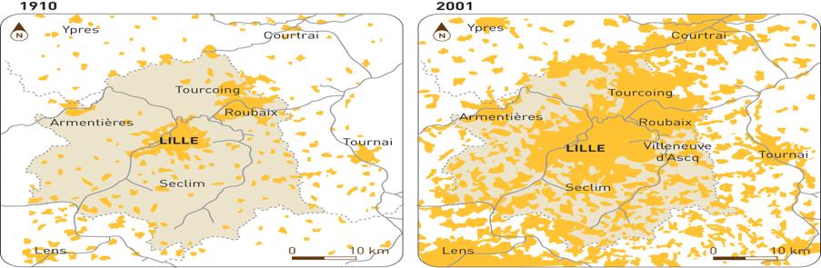 Formação da conurbação de Lille – Roubaix – Tourcoing.