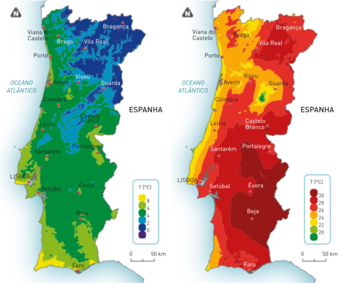 Isotérmicas de janeiro e de julho em Portugal continental.