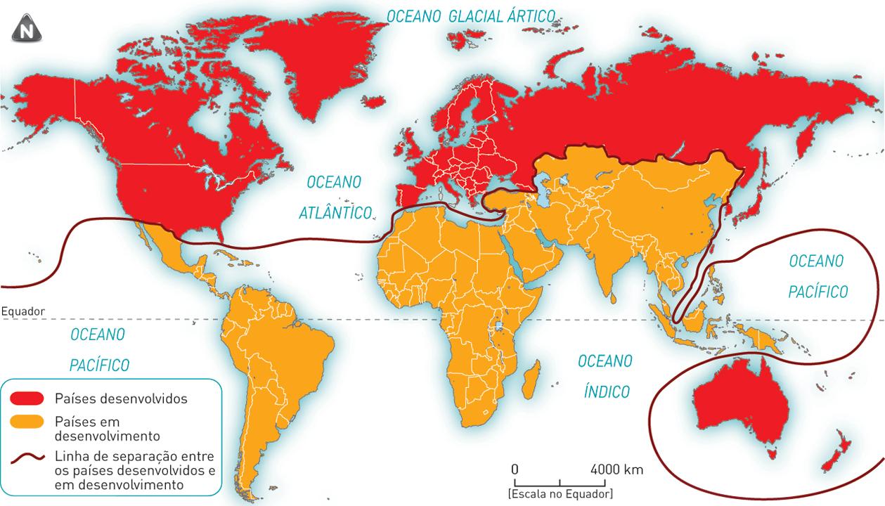 """Localização dos Países Desenvolvidos ou """"do Norte"""" e dos Países Em Desenvolvimento ou """"do Sul""""."""
