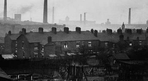 Manchester o berço da Revolução Industrial em cerca de 1850, Reino Unido.