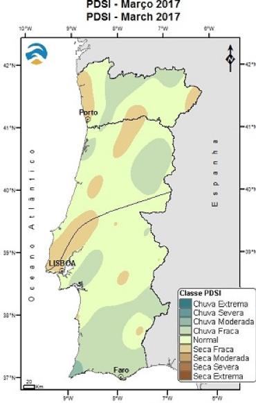 Evolução espacial do índice de seca meteorológica em Portugal continental, entre março e outubro de 2017.