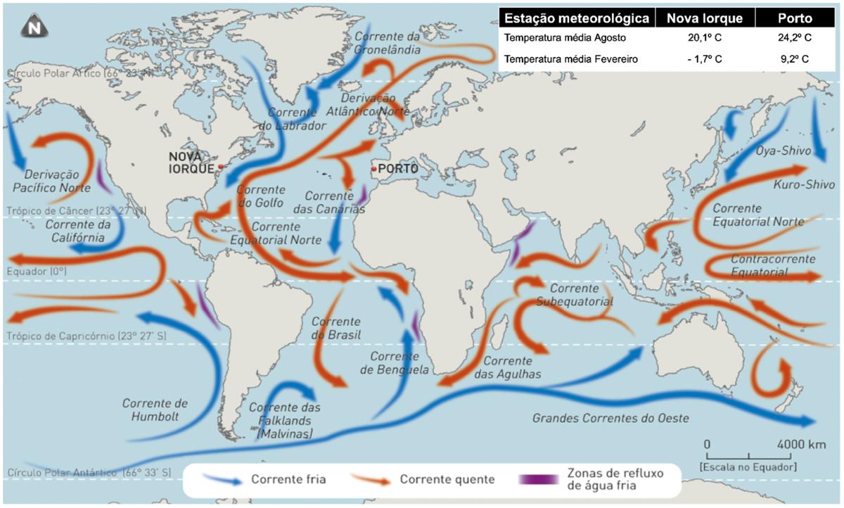 Principais correntes marítimas da superfície terrestre.