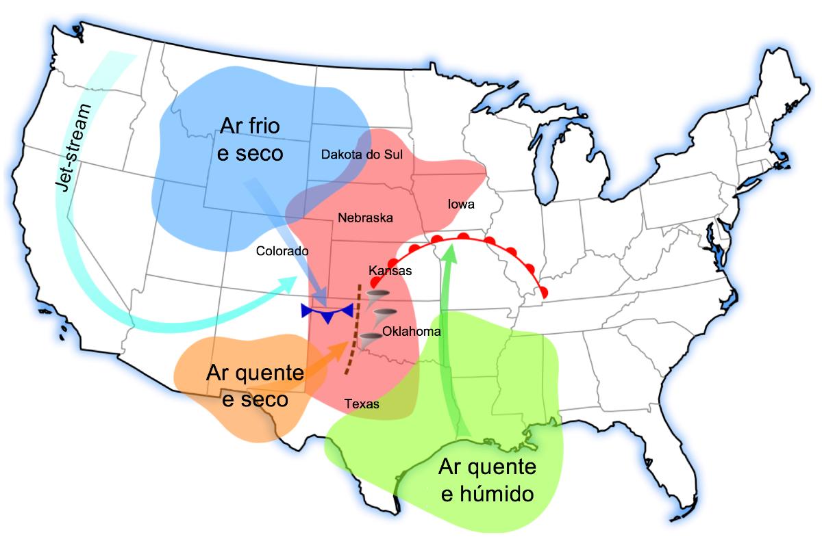 Proveniência das massas de ar com características e direções diferentes que influenciam a formação dos tornados.