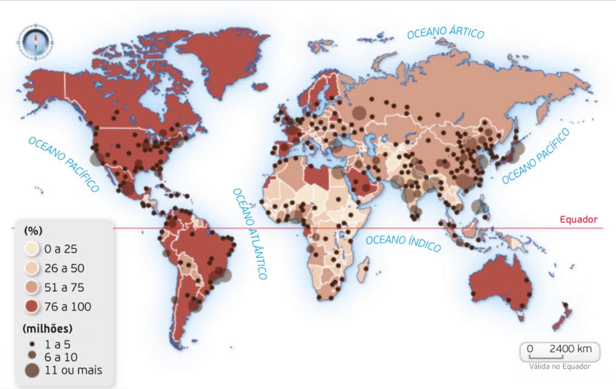 Taxa de urbanização e principais aglomerados urbanos, 2011.