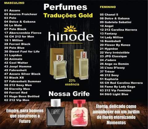 Linha Hinode de Perfumes Importados Traduções Gold compre por 100,00