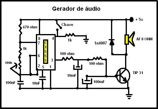 Circuito simples de um gerador de áudio