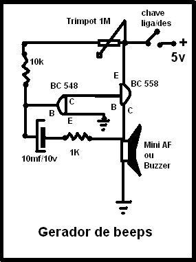 Circuito de um gerador de beeps bem simples