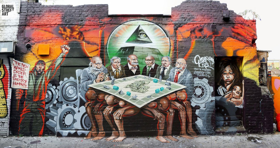 PAINTING OF BANKSTERS ENSLAVING THE SHEEPLE NWO