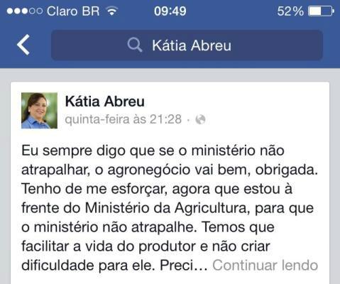 Kátia Abreu em frase contra o MAPA