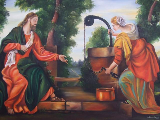 PINTURA A ÒLEO,JESUS E A SAMARITANA,SEVERINO MENDES,