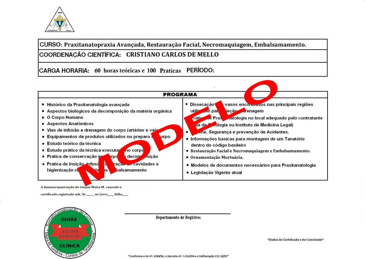 Certificado Curso Tanatopraxia Somato-Conservação de Corpos Maira M. Goiânia
