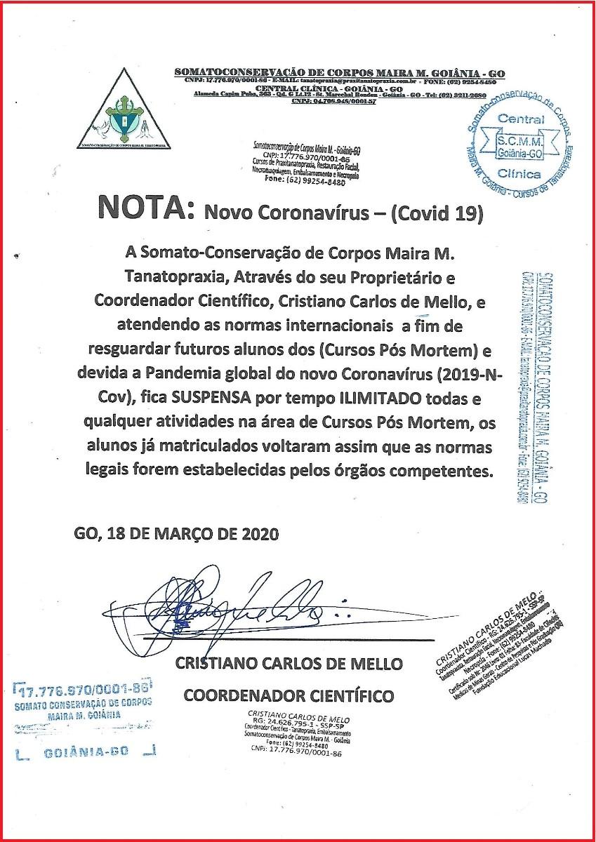 Coronavírus, Soamto-Conservação de Corpos Maira M. Tanatopraxia, cursos do tanatopraxia no Brasil, cursos de tanatopraxia em Goiânia,