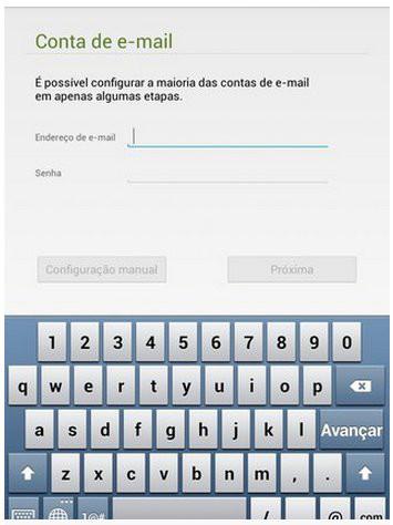 configurar a conta de e-mail