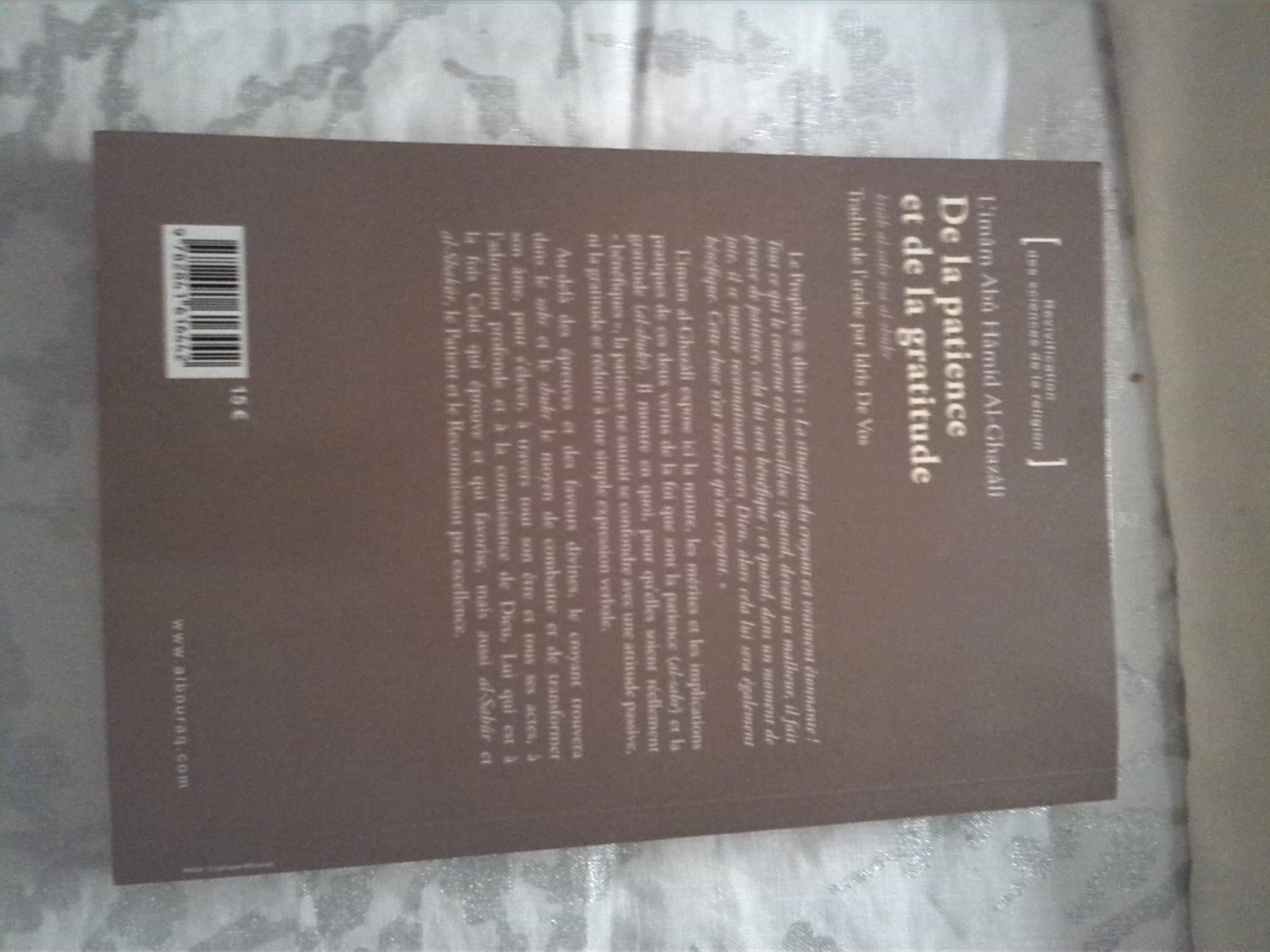 De la patience et de la gratitude, un livre pour adultes en vente chez Zappandoo.