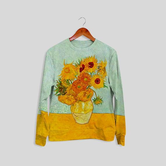 Sweatshirt imprimé de tournesols pour les soirées plus fraiches. De la collection